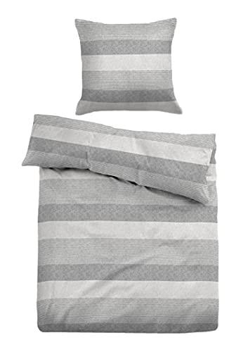 TOM TAILOR 0849790 Bettwäsche Garnitur mit Kopfkissenbezug Melange Flanell Gradual Stripes 1x 135x200 cm + 1x 80x80 cm grey