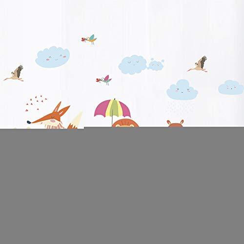 GUDOJK Autocollant Mural Drôle Ours Hibou Fox Oiseau Lion Parapluie Plante Stickers Muraux Enfants Chambres Home Decor Cartoon Animaux Mur Art PVC Art Decal
