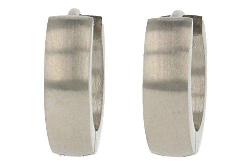 bkwear 1 Paar Creolen CR 42 bk3 Edelstahl Silber Matt Ohrringe 13 / 4 mm leicht abgerundet