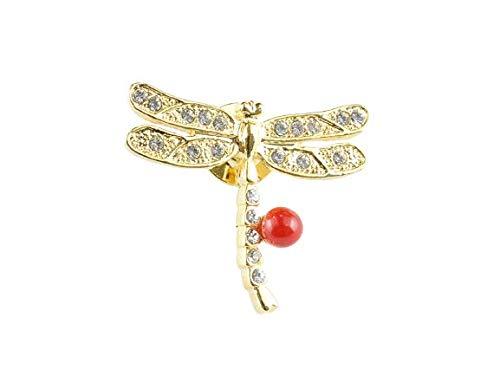 日本産 赤 サンゴ コーラル coral ブローチ レディース トンボ 蜻蛉 とんぼ Dragonfly (ゴールド)
