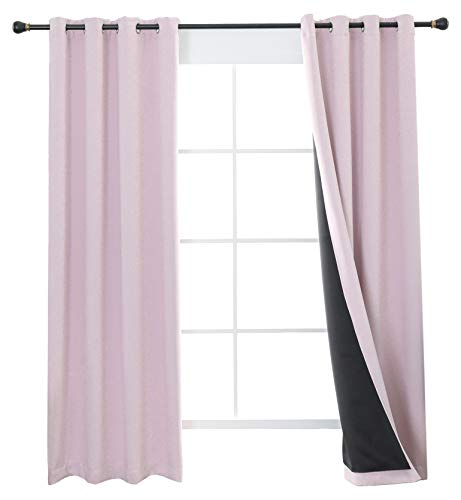 Aquazolax Nursery Blackout Curtains Liner, 100% Blackout Blinds, Girls' Room Decoration Window Treatment Curtains, Totally Darkness Drapes Thermal Insulated, 2 Panels, 52 by 84-inch, Baby Pink