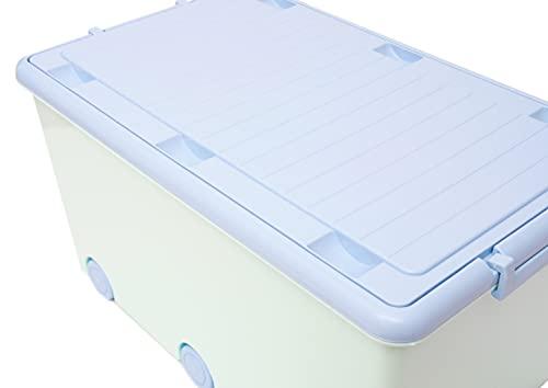 LAPSI® Spielzeugkiste, Aufbewahrungsbox mit 6 Rollen mit Deckel auf Rädern Grün Hase - 5