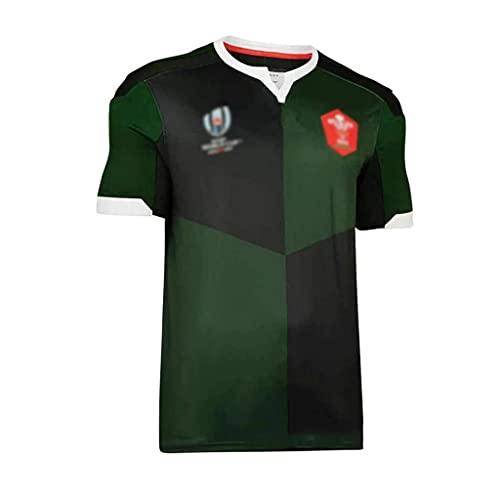 ZDVHM Copa del Mundo Jersey de Rugby 2019 Gales Inicio Aleje Rugby Jersey Uniforme Manga Corta 100% Poliéster Tela Transpirable Deportes Entrenamiento Camiseta Camisa de fútbol para Hombres
