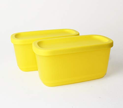 Tupperware - Recipiente para congelar (2 unidades, 250 ml), color amarillo