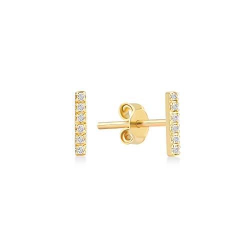 GELIN Genuine Diamond Bar Stud Earrings in 14k Solid Gold | Bar Jewelry for Women