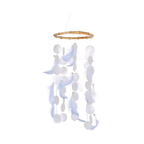 FUNCOCO Campanas de Viento, Campanas de Viento de Plumas de Concha con Gancho en S, Campanas de Viento con Colgante de jardín Hermoso, Campanas de Viento para decoración del hogar