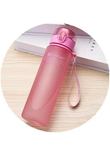 Botella de Agua 800ML 560ML 400ML Vasos de plástico para Deportes al Aire Libre Escuela Sello a Prueba de Fugas Botellas de Agua Potable Directa portátiles - 800ml, Rosa Mate