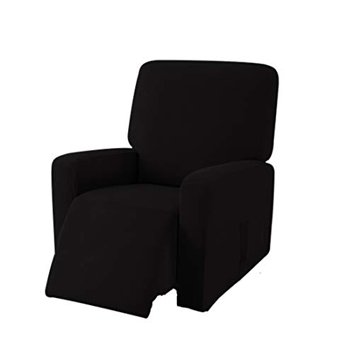 E EBETA Jacquard fåtöljskydd, fåtöljskydd, stretchöverdrag för vilstol komplett elastiskt skydd för TV-stol fåtölj fåtölj (svart)