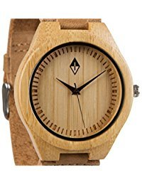 Woodgrain Bamboo Wooden Watch with Genuine...