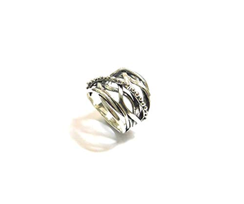 ALMA 925 sterling zilveren ringen voor dames - gedraaide draadring zilveren ring - aanslagbestendige brede verklaringsringen - hooggepolijste Comfort Fit ringbanden - beste cadeau voor vriendin, moeder en zus R10517