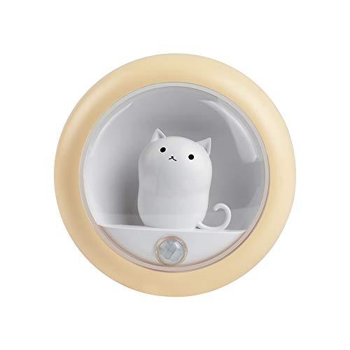 Catland LED 人感 センサーライト USB充電式 小型 かわいい 猫型 ホワイト 明暗センサー 照度調節 ledライト おしゃれ 屋内フットライト 省エネ 足元灯 軽量 マグネット付き 設置便利 着脱可能 廊下 階段 玄関 リビング 適用 4個入