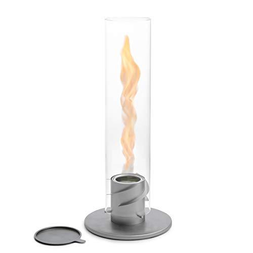 höfats - Spin 120 Grau inklusive Edelstahl Nachfülldose - Bioethanolkamin für Indoor und Outdoor - Tischfeuer, Windlicht und Gartenfackel aus Edelstahl