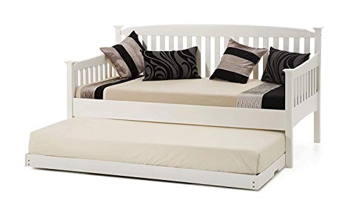 SHAKER STYLE WHITE 3FT SINGLE DAYBED WITH UNDER BED GUEST TRUNDLE , WITHOUT MATTRESSES,UNDERBED TRUNDLE RAISE TO THE SAME HEIGHT AS THE DAY BED (WHITE SHAKER DAYBED + UNDERBED TRUNDLE)