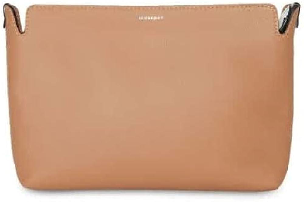 Burberry Light Camel/Chlk Wht Medium Two-tone Leather Clutch