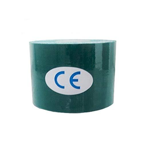 HUDNNFO Sport Kinesiologie Band 15 Color 100% Baumwolle Elastic Kinesiology Tape-Knie-Ellenbogen-Schutz Pflaster Muskelregeneration Wasserdicht Atmungs zur Übung (Color : Dark Green, Size : 3.8cm 5m)
