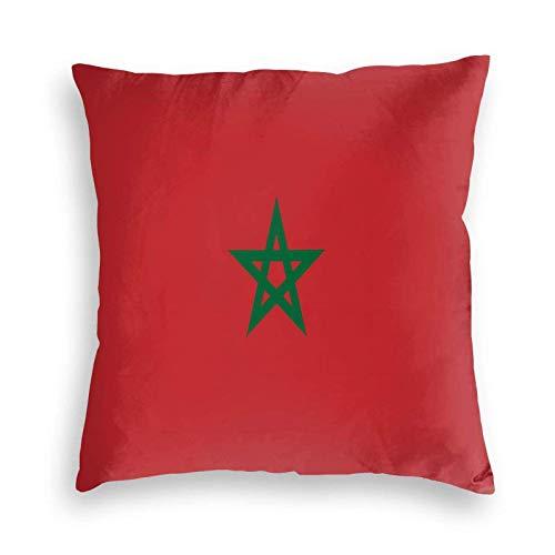 SUN DANCE Funda de cojín decorativa suave con la bandera de Marruecos para sofá, coche, cama, 50,8 x 50,8 cm