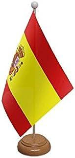 Bandera de España para escritorio, grande, con base y poste de ...