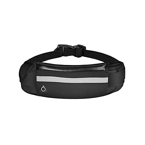 Bolsa de cintura deportiva Hombres y mujeres que funcionan con bolsa de cintura impermeable Bolsa de billetera Portátil Bolsa de soporte de teléfono móvil (Color : Black, Size : One size)