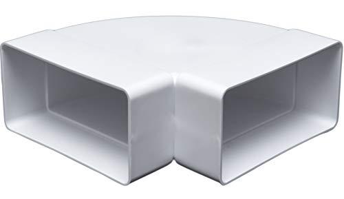 Kanalbogen 90° horizontal für 55 x 110 Flachkanal Lüftungssysteme. Abluftkanal oder Zuluftkanal. Hohe Qualität ABS-Kunststoff (FS55-BV)