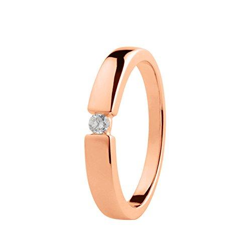 Ardeo Aurum Damenring aus 585 Gold Rosegold mit 0,07 ct Diamant Brillant Spannfasssung Verlobungsring Solitär