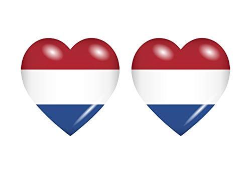 Akachafactory 2X Sticker Aufkleber Flaggen Flagge Fahne Herzen NL niederlande