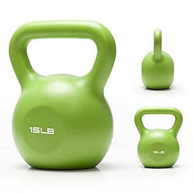 Kettlebell Weights Set, 15lb Vinyl Coated Cast Iron Kettlebell Workout Full-Body Exercise Fitness Kettlebell Grip Trainer Set Home Gym Handle Kettlebell for Women Men Ballistic, Core,Strength Training from BlackSide