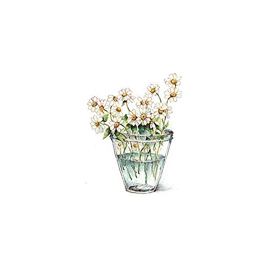 Vinilos para Ventanas Pequeñas Flores Blancas Vinilos Cristales para Privacidad Película Adhesiva...