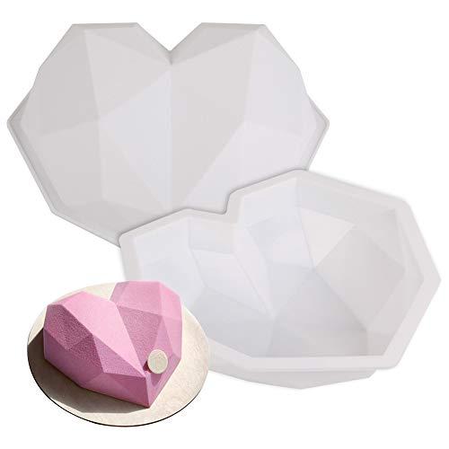 FANDE Stampo in Silicone Cuore Diamante, Stampo per Torta a Forma di Ccuore Diamante 3D, Strumenti di Cottura DIY di San Valentino, Usato per Cuocere Biscotti Mousse al Cioccolato Torta (2PCS)