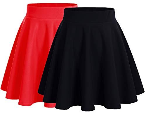Dresstells - Falda corta acampanada, minifalda de patinadora versátil elástica, color liso 2 Pezzi(black+red) M