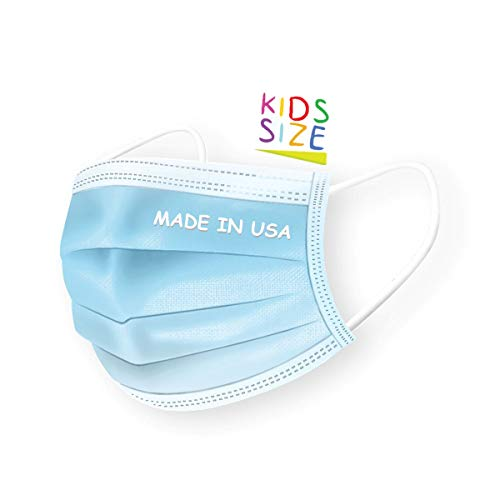 DermSource 3-Ply Disposable Face Masks for Kids | MADE IN USA | Non Woven, Breathable Face Mask with Ear Loop and Adjustable Nose Clip | Lightweight Face Cover for Girls and Boys | (Blue)