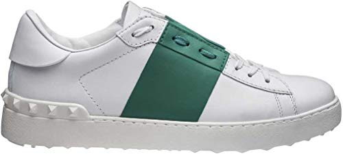 Valentino Herren Mens Open Colour Block Leder Spikes Schuhe Sneaker Turnschuhe Farbe: Weiss Größe: 39,5
