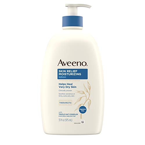 Aveeno Skin Relief 24-Hour Moisturizing Lotion for Sensitive Skin with Natural Shea Butter & Triple Oat Complex, Unscented Therapeutic Lotion for Extra Dry, Itchy Skin, 33 fl. oz