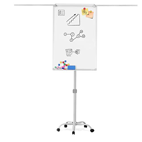 Jago® Flipchart mit Sternfuß - 60 x 90 cm, höhenverstellbar, seitlich ausziehbare Papierhalter Staffelei, Stiftablage - Magnetisches Whiteboard, Magnettafel, Präsentationstafel