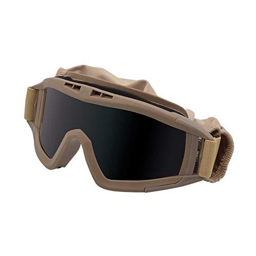 JYYC Neue Armee-Fanbrillen, Taktische Schutzbrillen, schlagfeste Wüstenbrillen, Schutzbrillen für Spezialkräfte, Outdoor-Ausrüstung, Khaki-Rahmen grau