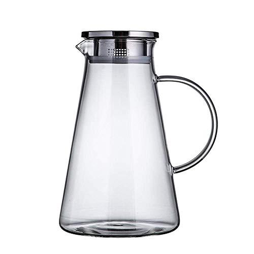 HJYSQX Jarra de Vidrio de borosilicato sin Plomo de 1.3 l/litro, Jarra con Tapa, Jarra de Vidrio, Divisor de Vino, Tetera de té Helado con Tapa, Jarra de Vidrio para Agua Caliente/fría (Olla in