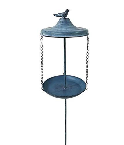 Dehner Natura Distributeur de Nourriture pour Oiseaux Sauvages Negev avec Piquet Ø 21,5 cm Hauteur 96 cm Métal Bleu foncé