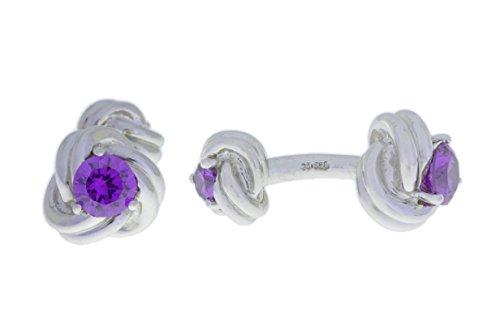 Elizabeth Jewelry 2,5 carats, améthyste et boutons de manchette de noeud argent 925/1000 rhodié
