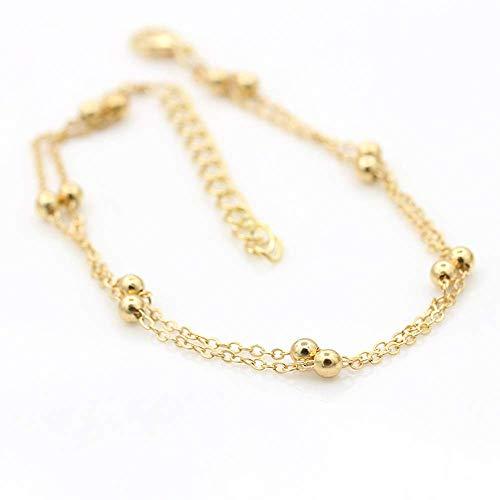 N-brand PULABO Fußring Doppelkette Perlenzehenkette Praktisch und langlebig Beliebt