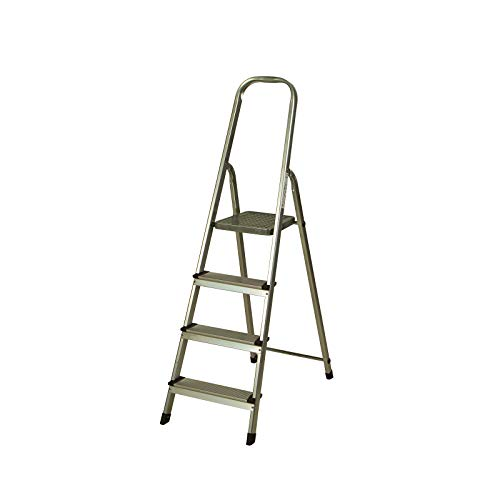 CATTER HOUSE KHG20004 - Escalera de Aluminio 4 Peldaños Alt. Máx. Trabajo 284 cm Plegable con Barandilla