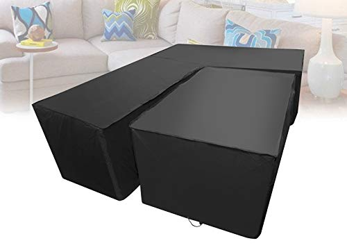 L Shape Dining Set Cover Waterproof Garden Furniture Covers Right Side Long Patio Corner Furniture Sofa Rattan Cover with Rectangular Desk Cover Black 264x210cm+155x95x68cm