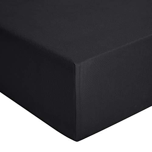 Amazon Basics - Spannbetttuch, Jersey, Anthrazit - 80 x 200 cm