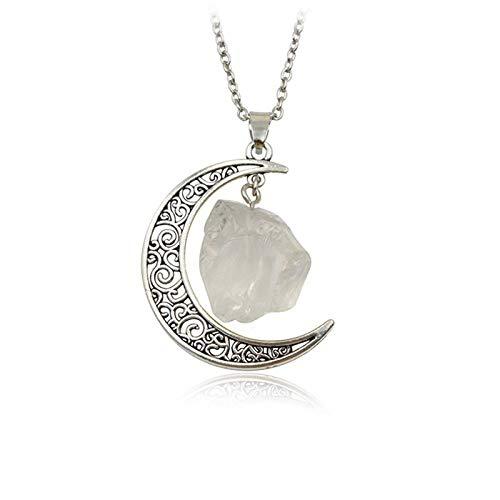 DGSDFGAH Collar De Mujer Vintage Irregular White Moon Spar Cristales De Cuarzo Collares Pendientes De Piedra Natural, para Mujeres, Hombres, Niñas, Regalo De Fiesta De Cumpleaños, Cadena De Clavíc