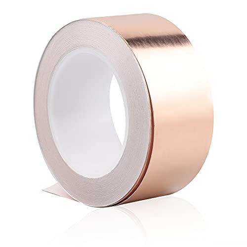 CPROSP 20 M x 70 mm Kupferband gegen Schnecken, Kupferklebeband 0,05mm Dick, EMI Kapton Tape Hitzebeständige, Abschirmband Kupferfolie