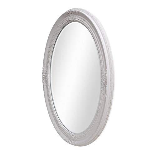 PHOTOLINI Spiegel Oval im Barock-Rahmen Antik Weiss 62x72 cm | Spiegelfläche 50x60 cm mit Facettenschliff | Wand-Spiegel