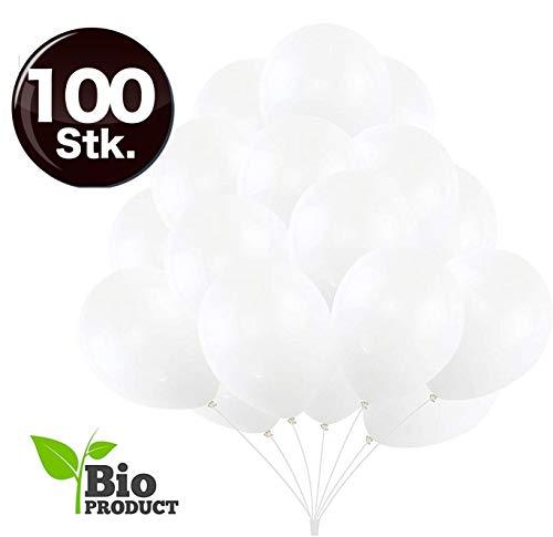TK Gruppe Timo Klingler 100x Luftballons Ø 35 cm Luftballon Ballons Balloons Luftballon Ballon weiß Weiss Latexballons für Helium & Luft - Dekoration Hochzeit Hochzeitsdeko (100x weiß)