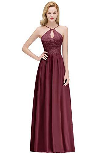 MisShow Damen Elegant Chiffon Brautkleid A-Linie Abendkleid Ärmellos Rückenfrei Abiballkleid Bodenlang GR. 38