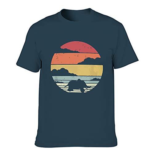 Herren Elefanten Cotton T-Shirts Lässig Retro Kurzarm Tee Navy l