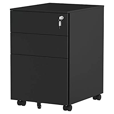 YITAHOME Metal Filing Cabinet Office Drawers with Keys and Wheels, 3-Drawer Portable File Cabinet, Pre-Built Office Storage Cabinet for A4/Letter/Legal