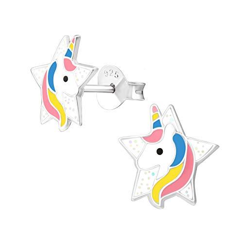 Monkimau Orecchini bambina Orecchini a stella unicorno in argento sterling 925