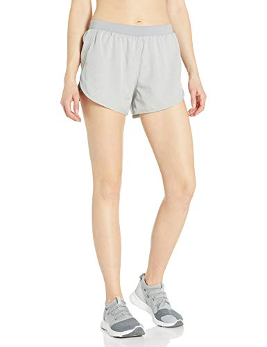 Under Armour Women's Fly By 2.0 Running Shorts, Gray Wolf Full Heather (031)/Reflective, Large